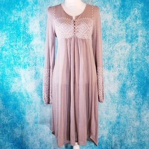 Monoreno Beige Boho Lagenlook Embroidered Dress